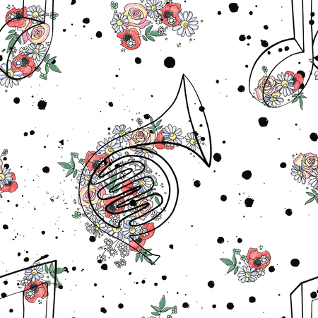 Vector seamless pattern graphic illustration of french horn music notes, flowers leaves branch drip blot splotch ink, splodge, spray Sketch drawing doodle style Artistic abstract watercolor silhouette