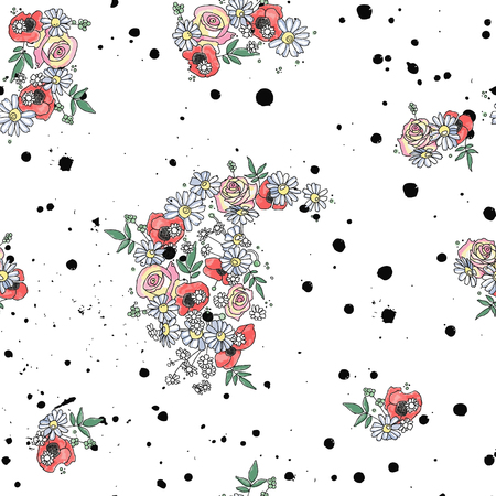 Vector hand drawn seamless pattern, graphic illustration with flowers, leaves, branch Sketch drawing, doodle style. Artistic abstract, watercolor silhouette wirh rose, poppy, dandelion, leaf. artistic