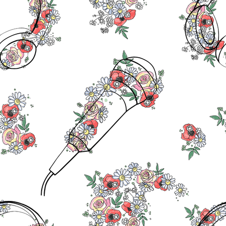 Vector seamless pattern, graphic illustration of headphones, music notes with flowers, leaves, branch Sketch drawing, doodle style. Artistic abstract, watercolor silhouette wirh rose, poppy, leaf. Ilustrace