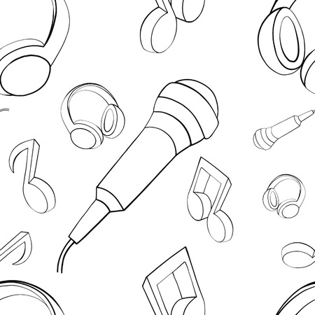 Vector seamless pattern graphic illustration of headphones, music notes, microphone Sketch drawing, doodle style. abstract black and white silhouette Print for fabric, wallpaper, packaging, background