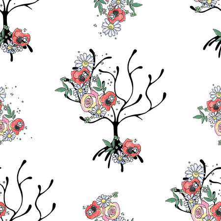 Vektor handgezeichnetes nahtloses Muster, grafische Darstellung des Baumes mit Blumen, Blättern, Zweig Skizzenzeichnung, Doodle-Stil. Künstlerische Zusammenfassung, Aquarell Silhouette mit Rose, Mohn, Löwenzahn, Blatt.