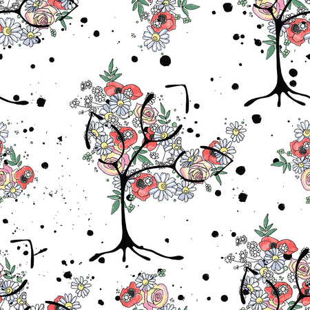 Vector hand drawn seamless pattern graphic illustration of tree with flowers leaves branch Sketch drawing, doodle style Artistic abstract, watercolor wirh drip blot splotch ink splodge spray