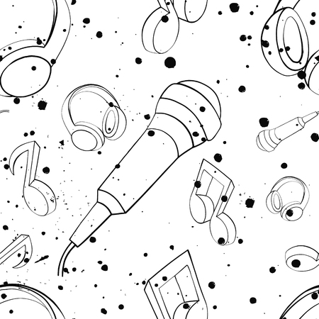 Vector seamless pattern with headphones, microphones,notes, inc splash, blots, smudge and brush strokes Black and white grunge template for web background prints wallpaper packaging wrapping design