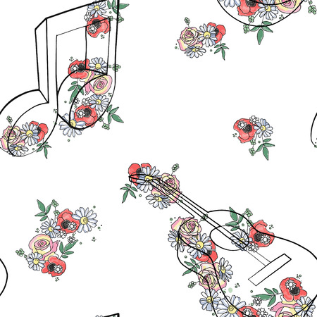 Vector hand drawn seamless pattern, graphic illustration of french horn with flowers, leaves Sketch drawing, doodle style. Artistic abstract line art. Black, white silhouette wirh colorful rose, leaf
