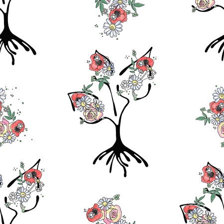 Vector hand drawn seamless pattern, graphic illustration of tree with flowers, leaves, branch Sketch drawing, doodle style. Artistic abstract, watercolor silhouette wirh rose, poppy, dandelion, leaf. Ilustracja