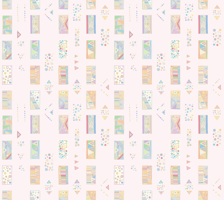 Seamless vector geometrical pattern with hand drawn decorative elements Graphic abstract design, drawing illustration. Print for fabric, textil, wallpaper, wrapping packaging Doddle style Illustration