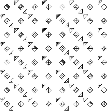 Seamless vector pattern, black and white symmetric geometric ethnic background Print for decor, wallpaper, packaging, wrapping, fabric. graphic design. Doodle style illystration