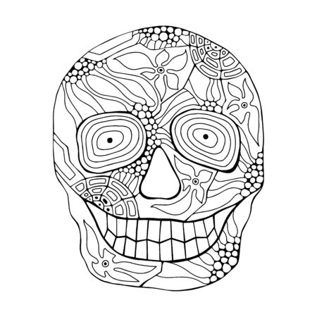 Vector hand drawn illustration of smiling skull with flowers, spider web, tooth, lines face of human Print horror for t shirt. Mexican style, day of the dead, halloween. Sketch, doodle drawing. Иллюстрация