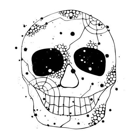 Vector illustration dessinée à la main d'un crâne souriant avec effet grunge, toile d'araignée, dent, visage d'horreur humaine Imprimer pour t-shirt. Style mexicain, jour des morts, halloween. Croquis, dessin de griffonnage.
