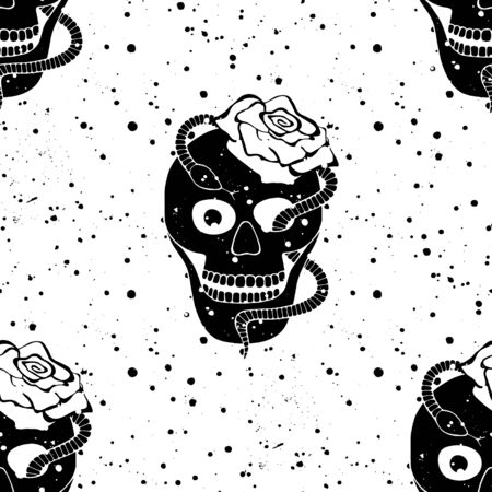 Vector black white hand drawn seamless pattern illustration, skull with snake, rose tooth, silhouette face of human Print horror Mexican style, day of the dead Mexico, halloween Sketch, tattoo drawing.