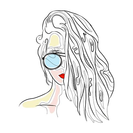 Vector graphic illustration of beautiful cute face of young sexy artistic girl with thick long hair, sunglass, red lips. Hand drawn sketch line drawing. Portrait of nice closeup woman. Silhouette
