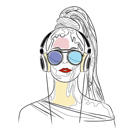 Vector graphic illustration of beautiful cute face of young sexy artistic girl with thick long hair, sunglass, red lips, headphones. Hand drawn sketch line drawing. Portrait closeup woman. Silhouette Stock Illustratie