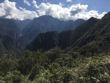 Beautiful panoramic view of famous mountains machu picchu peru, south america. Inca city, peruvian civilization. Green Landscape, panorama of andes