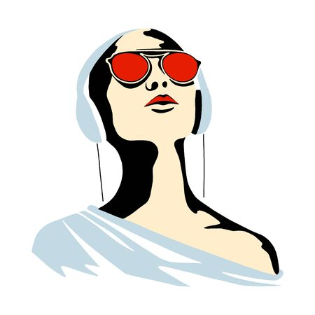 Vector graphic illustration of girl, listening music. Beautiful silhouette simple close up face with sunglasses, headphones. minimalistic style, vintage, street art, Vector design, hand drawn sketch