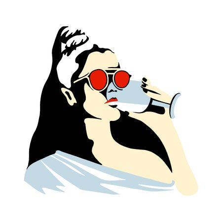 Vector graphic illustration of girl, drinking wine. Beautiful silhouette simple close up face with sunglasses, wineglass. minimalistic style, vintage, street art, Vector design, hand drawn sketch Stockfoto - 147012748