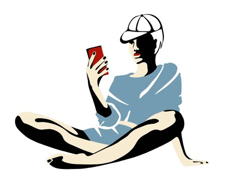 Vector graphic illustration of girl sitting, posing, looking at the phone. Beautiful silhouette simple body, minimalistic style, vintage, street art, Art design, hand drawn sketch.