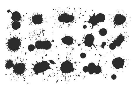 Vector black and white ink splash, blot and brush stroke, spot, spray, smudge, spatter, splatter, drip, drop, ink blob brush, paint spot, spray, smudge Grunge textured elements for design, background.