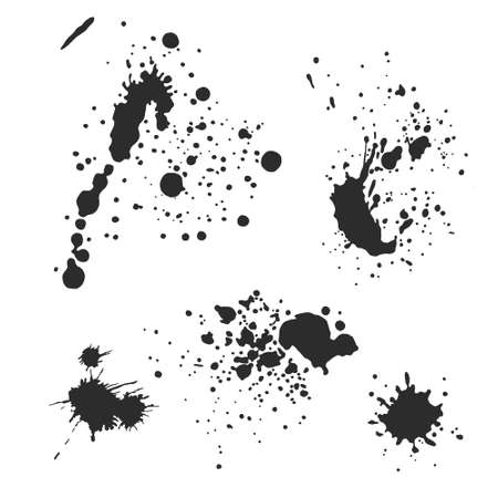 Vector black and white ink splash, blot and brush stroke, spot, spray, smudge, spatter, splatter, drip, drop, ink blob brush, paint spot, spray, smudge Grunge textured elements for design, background. Vetores