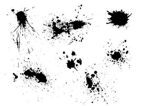 Vector black and white ink splash, blot and brush stroke, spot, spray, smudge, spatter, splatter, drip, drop, ink blob Grunge textured elements for design, background.