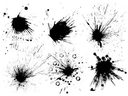 Vector black and white ink splash, blot and brush stroke, spot, spray, smudge, spatter, splatter, drip, drop, ink blob Grunge textured elements for design, background. Vettoriali