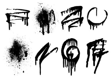 Vector black and white set with ink splash, blot and brush stroke. Grunge textured geometrical elements for design, backgrounds.