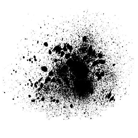 Vector black and white ink splash, blot and brush stroke Grunge textured element for design, background.