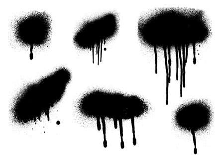 Vector black and white ink splash, blot and brush stroke Grunge textured element for design background. Vettoriali