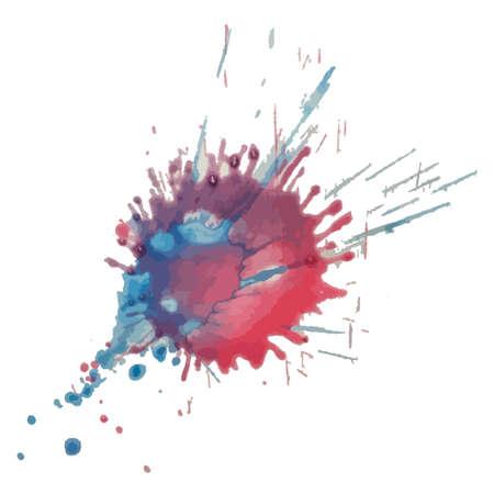 Vector red blue watercolor splash, blot Grunge textured element for design, artistic background Vettoriali