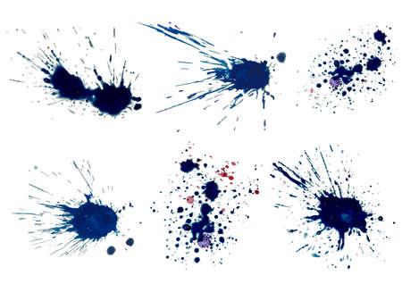 Vector set of blue ink volume splash, blots Grunge textured element for design, artistic background