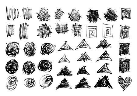 Vector black and white set with ink geometric splash, blot and brush stroke Grunge textured elements design background
