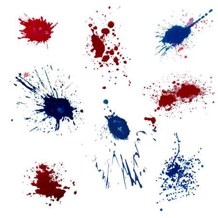 Vector set of blue red ink volume splash, blots Grunge textured element for design, artistic background