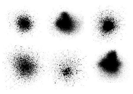 Vector black and white set with ink splash, blots and brush stroke Grunge textured element design background.