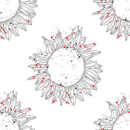 Vector seamless pattern graphic illustration of hand drawn beautiful flower, isolated sunflowers, black and white colors with inc blots, drops. Line artistic sketch, art drawing. Print for fabric