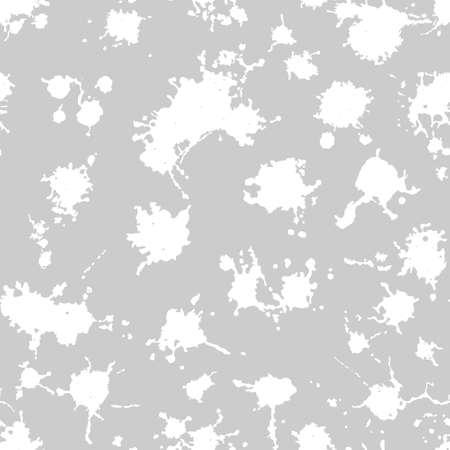 Vector gray seamless pattern with ink splash, blot and brush stroke spot spray smudge, spatter, splatter, drip, drop, ink smudge smears Grunge textured elements design background.