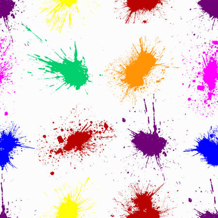 Vector colorful seamless pattern with ink splash, blot and brush stroke spot spray smudge, spatter, splatter, drip, drop, ink smudge smears Grunge textured elements design background, rainbow color Vettoriali