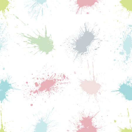 Vector colorful seamless pattern with ink splash, blot and brush stroke spot spray smudge, spatter, splatter, drip, drop, ink smudge smears Grunge textured elements design background, pastel colors Vettoriali