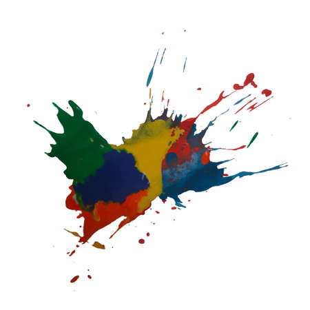 Vector colorful background with ink splash, blot and brush strokein rainbow colors Grunge textured element for design, background. Vettoriali