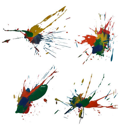 Vector colorful set with ink splash, blot and brush stroke in rainbow colors Grunge textured element for design, background. Vettoriali