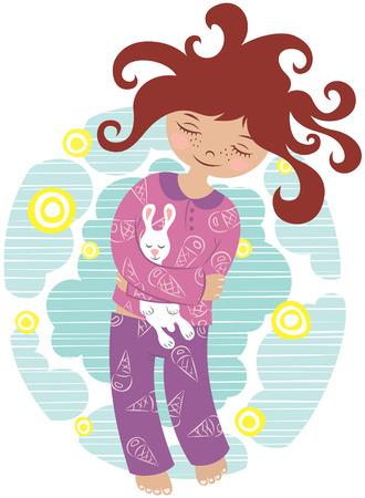 assez petite fille endormie en pyjamas sur le fond de ciel étoilé Vecteurs