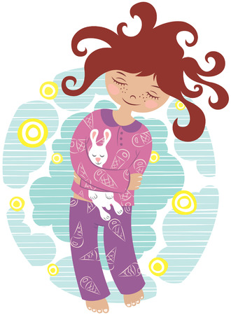 pajamas: pretty little sleeping girl in pajamas on the starry sky background Illustration