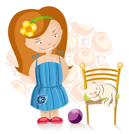 little cute girl and kitten sleeping  on the chair Vector
