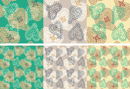 colorful seamless vector background pattern from hearts Иллюстрация