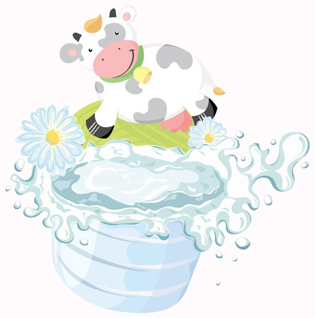 glass of milk and funny cow.  Vector