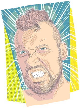 malice: illustration of very angry face guy Illustration