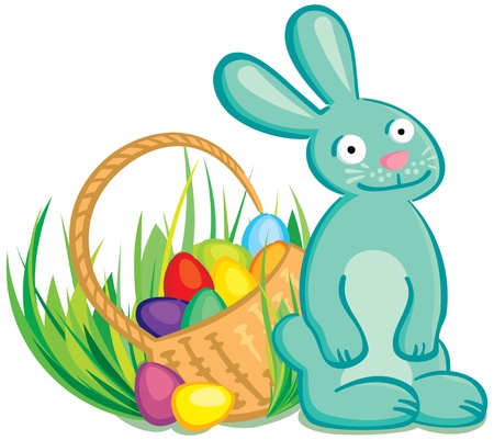 vector easter bunny with basket of eggs. Illustration Vector