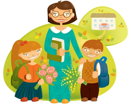 happy teacher and the children are going to school Vector