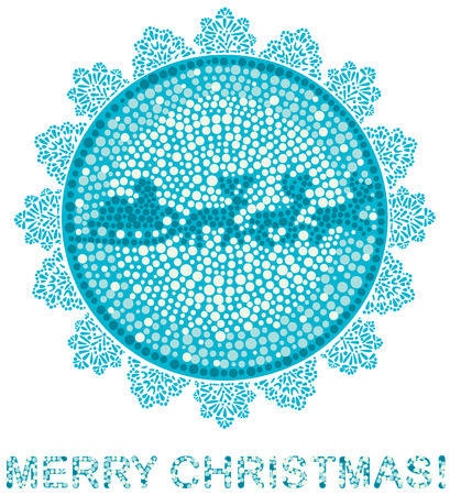 felicitation: stylized сhristmas greeting by mosaics and lace