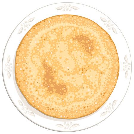 하얀 접시에 라운드 맛있는 팬케이크 일러스트