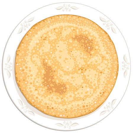 tasty round pancake on the white plate Vector