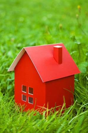 pasteboard:  pasteboard red house with a chimney of herbs